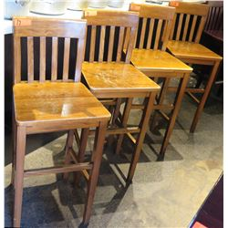Qty 9 Light Wood High Back Chairs