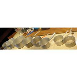 Qty 8 Misc Size Commercial Pots Sauce Pans w/ Handles