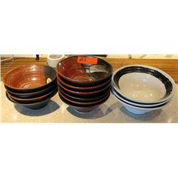 Qty 9 Brown Ceramic & 3 White Saimin Bowls w/ Maker's Mark