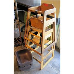 Qty 3 Wooden High Chairs & 2 Booster Seats