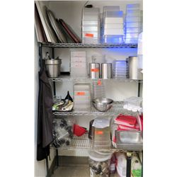 Wire Shelving Unit w/ Contents: Plastic & Metal Food Containers, Utensils, Mixing Bowls, etc