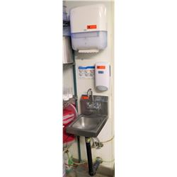 Advance Tabco Wall Mount Sink w/ Tork Paper Towel Dispenser & EcoLab Soap