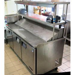 "Everest Refrigeration EPBNR3 Sandwich Prep Station w/ 3 Section Fridge 71""W x 31""Dx 43""H"