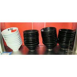Multiple Black & White Ceramic Saimin Bowls w/ Agu Logo