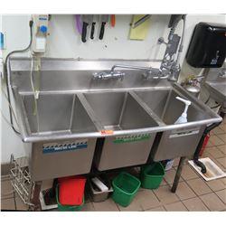 "Commercial Steel 3-Basin Sink w/ Faucet & Gooseneck Spray Head 57""W x 26""D x 35"" Front Ht"