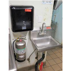 Wall Mount Sink w/ w/ Tork Paper Towel Dispenser