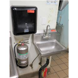 Wall Mount Sink w/ w/ Tork Paper Towel Dispenser (fire extinguisher in photos not included)