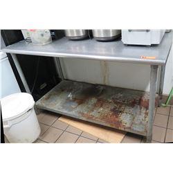 """Stainless Steel Utility Prep Table w/ Undershelf 60""""W x 30""""D x 35.5""""Ht"""