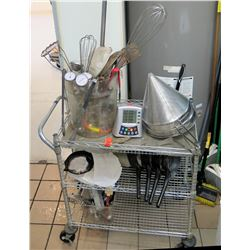 Wire Mesh Metal Rolling Cart & Contents: Food Thermometers, Sieves, etc