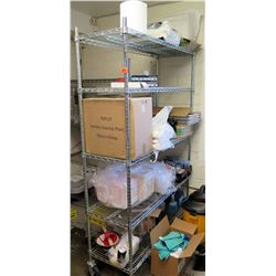 Metal 4 Tier Wire Mesh Shelf & Contents:  Gloves, Chopsticks, Deli Containers, etc