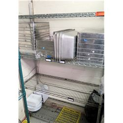 Metal 4 Tier Wire Mesh Shelf & Contents:  Stainless Food Containers, Pans, etc