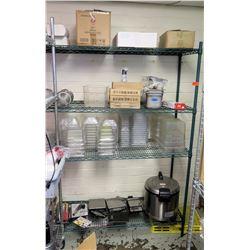 Metal 4 Tier Wire Mesh Shelf & Contents:  Plastic Food Containers, Utensils, etc