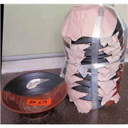 Qty 13 Ceramic Black & Brown Saimin Bowls w/ Maker's Mark