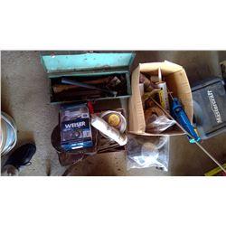 Lot of Knee Pads, Door Handle, Toolbox of Misc. Tools, Caulking Gun, etc.