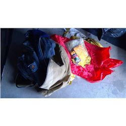 Lot  of Rain Jackets, Duffle Bag, Paints, and XXL Cover