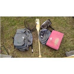 Oar and Fishing Net, Coleman Stove, Tent in Backpack