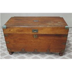 "Antique Wooden Trunk with Hardware Embellishment 40.5"" x 20"" x 23.5""H"