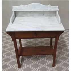 "Marble-Top Wooden Nightstand with Drawer 27.5"" x 18"" x 29.5""H"