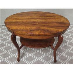 Martin & MacArthur Oval Koa Side Table with Curved Legs 30  x 22  x 22 H