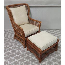 "Rattan Chair with Seat & Back Cushion (Approx. 27""W, 41""H) and Matching Ottoman w/ Cushion"