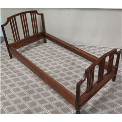 Wooden Single/Twin Bed Frame w/ Slatted Headboard & Footboard