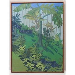 Large 37x49 Framed Original Painting on Canvas: Tropical Foliage, Signed by Artist '79