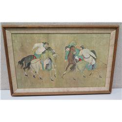 Framed Oriental Art - Men on Horseback 27x19