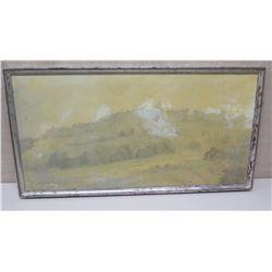 Framed Original Painting - Landscape Scene, Signed by Artist Paul Yardley 33x18