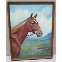 Framed Original Painting -  Brown Horse, Signed by Artist Patience Birley 19x26