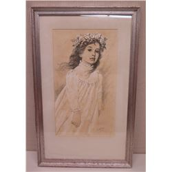 Framed Art - Sketch of a Young Girl w/ Haku Lei, Signed by Artist Stickney 21x 35