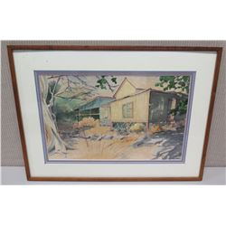 Framed Art - Artist Signed A. Davis, 27x20, House Inscription on Back  Queen Emma Slept Here