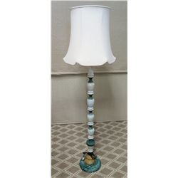 Floor Lamp & Shade - Natural Stone & Metal Base 70  Tall