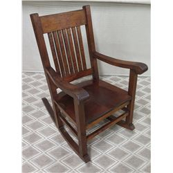 Koa Wood Rocking Arm Chair w/ Slatted Back & Cushion, 38 H Backrest