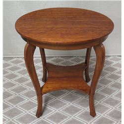 Round Koa Wood Side Table w/ Curved Legs 28  Dia, 30 H