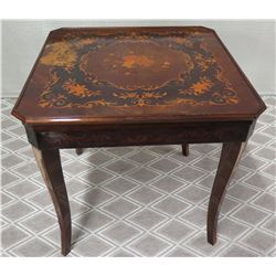 Square Lacquered Game Table w/ Roulette Wheel & Games (some surface damage)