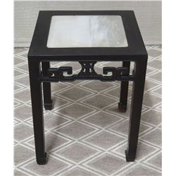 Black End Table w/ Natural Stone Top, Oriental Design 16  x 16  x 20.5 H