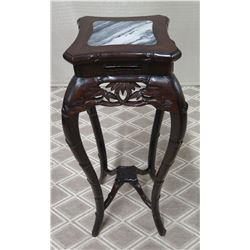 "Dark Carved Stand w/ Natural Stone Top 11"" x 11"" x 35""H"