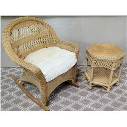 Wicker Rattan Rocking Chair w/ Seat Cushion & Matching Side Table