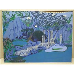 Large Framed Original Art on Canvas - Blue Composition, Signed by Artist Kehau Kea '73, 48x36