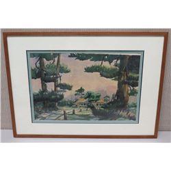 Framed Art - House and Landscape, Signed by Artist Fraces Davis 29.5 x 21