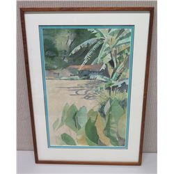 Framed Art -  Abandoned Taro Patch  Signed by Artist Frances Davis 20 x 28
