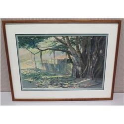Framed Art - Banyan Tree and Wooden Fence, Signed by Artist Frances Davis 27 x 21