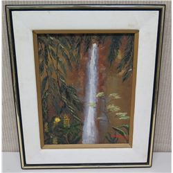 "Framed Original Art - Waterfall, Signed by Artist Dutchie '96 (16.5x20), Inscription on Back 1997 ""F"