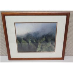"Framed Photographic Image - ""Lanihuli in the Rain"", Artist Signed Nathan Yuen '04 (22 x 18)"