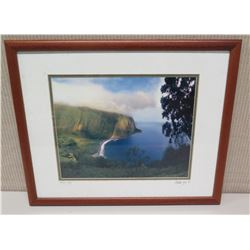 "Framed Photographic Image - ""Waipio Valley"" Artist Signed Nathan Yuen '04 (22 x 18)"
