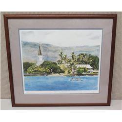 Framed Art -  Kailua Kona Waterfront  Signed Artist 28 x 25