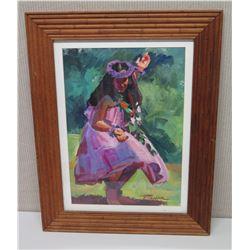 Framed Art - Dancing Hula Girl, Signed by Artist 24 x 30