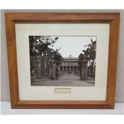 "Framed Photograph with Caption ""Iolani Palace 1895 Unpublished, Private True to Antique Negative"" 22"