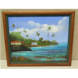 "Framed Original Painting - ""Hawaii Calls"", Signed Dutchie '03 (23 x 19)"
