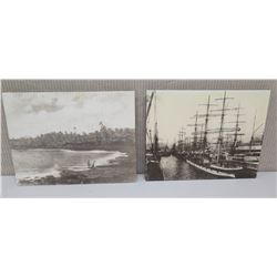 "Qty 2 Black & White Authentic Photo Reproduction ""Honolulu Harbor 1875"" (each 11 x 14)"